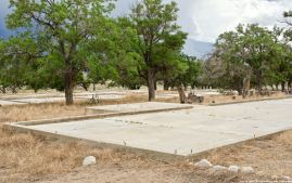 Some of the historic building foundations at the site of the Manzanar Chicken Ranch.