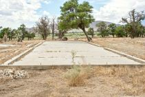 One of the historic building foundations at the site of the Manzanar Chicken Ranch.