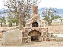 Remains of the incinerator at the site of the Manzanar Chicken Ranch.