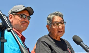 Bruce Embrey (left) and Wilbur Sato (right), recipient of the 2019 Sue Kunitomi Embrey Legacy Award