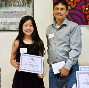Manzanar Committee Co-Chair Bruce Embrey with award winner Sara Omura