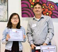 Manzanar Committee Co-Chair Bruce Embrey with award winner Sharon Choi