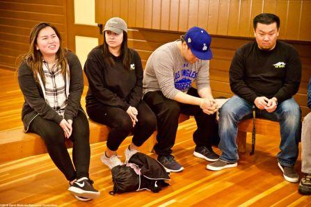 CSULB Nikkei Student Union member Miku Fujioka (left) introduces herself to the group.