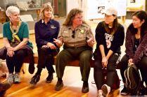 Manzanar National Historic Site's Chief of Interpretation Alisa Lynch (center).