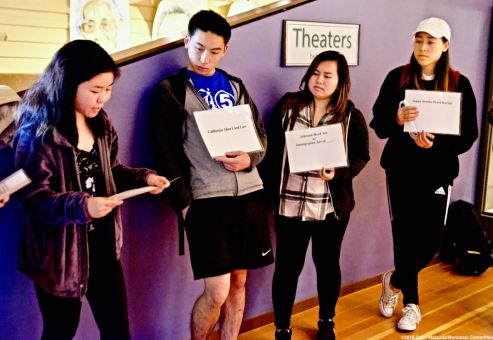 Students were engaged early on in an exercise dealing with anti-Asian sentiment/laws in the late 1800's and early-to-mid 1900's that led to the unjust incarceration of Japanese/Japanese Americans during World War II.