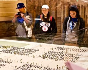 Students got a feel for the size of what was the Manzanar concentration camp by looking at the model of the camp in the Visitors Center.
