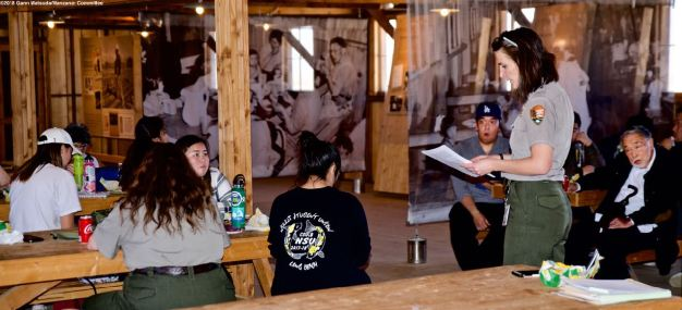 Ranger Rose Masters begins a discussion on the social impacts of mess hall dining at Manzanar while we eat lunch in the Block 14 mess hall.