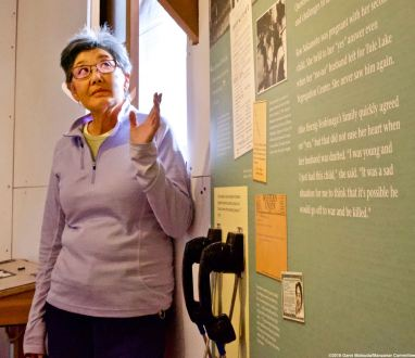 Manzanar Committee member and former Manzanar incarceree Pat Sakamoto told our students about how the infamous loyalty questionnaire tore her family apart.