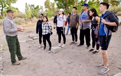 Manzanar NHS archeologist Jeff Burton (left) told our students about the incarceree-built gardens at Manzanar, and how they have been able to excavate and rehabilitate so many of them after decades of being buried under desert soil.