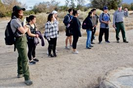 Manzanar NHS archeologist Jeff Burton (right) told our students about the incarceree-built gardens at Manzanar, and how they have been able to excavate and rehabilitate so many of them after decades of being buried under desert soil.