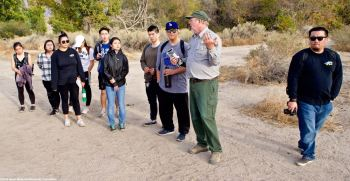 Manzanar NHS archeologist Jeff Burton (second from right) told our students about the incarceree-built gardens at Manzanar, and how they have been able to excavate and rehabilitate so many of them after decades of being buried under desert soil.