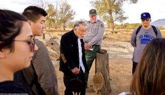 Former Amache incarceree Min Tonai (center) was often the center of attention for our students, as he was at the famous Merritt Park, considered to be the most elaborate and beautiful of the incarceree-built gardens at Manzanar.