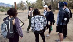 Ranger Rose Masters told our students about how the orchards from the Town of Manzanar era are being restored.