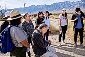 At the site of Block 20, where former Manzanar Committee Chair Sue Kunitomi Embrey was incarcerated.