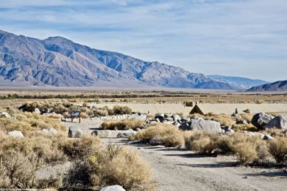 The view looking east towards the Inyo Mountains from the Manzanar Reservoir.