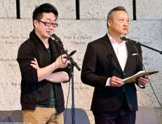 Edward Hpmg (;eft) and Kelvin Han Yee (right) read the Kondo Family Letters From Camp.