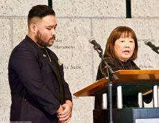 Emcees Hideki Fukusumi (left) and Carrie Morita (right)