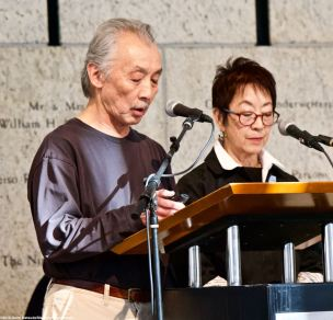 NCRR Co-Chairs Richard Katsuda (left) and Kay Ochi (right) remember former incarcerees and activists who passed away since the Los Angeles Day of Remembrance 2018.