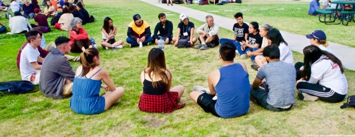 One of the small group discussions during the 2019 Manzanar At Dusk program, April 27, 2019, at Lone Pine High School.