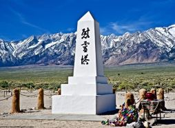 The Soul Consoling Tower—the cemetery monument at the Manzanar National Historic Site, shown here a couple of hours before the start of the 50th Annual Manzanar Pilgrimage, April 27, 2019.