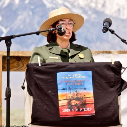 Bernadette Johnson, Superintendent, Manzanar National Historic Site, addresses the crowd during the 50th Annual Manzanar Pilgrimage, April 27, 2019, at the Manzanar National Historic Site.