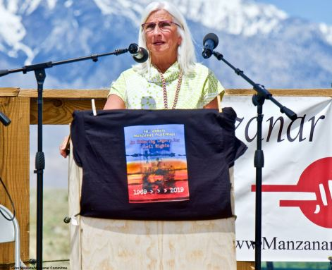 Cindy Orlando, Acting Deputy District Regional, Pacific West Region, National Park Service, addresses the crowd during the 50th Annual Manzanar Pilgrimage, April 27, 2019, at the Manzanar National Historic Site.