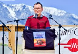 Tomochika Uyama, Consul General of Japan (San Francisco), addresses the crowd during the 50th Annual Manzanar Pilgrimage, April 27, 2019, at the Manzanar National Historic Site.