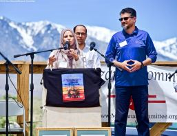 Roula Allouch, Council on American-Islamic Relations - National Chapter, addresses the crowd during the 50th Annual Manzanar Pilgrimage, April 27, 2019, at the Manzanar National Historic Site.