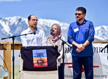 Nihad .Awad, NationExecutive Director, Council on American-Islamic Relations, addresses the crowd during the 50th Annual Manzanar Pilgrimage, April 27, 2019, at the Manzanar National Historic Site.