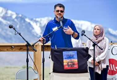 Hussam Alyoush, Executive Director, Council on American-Islamic Relations - Greater Los Angeles, addresses the crowd during the 50th Annual Manzanar Pilgrimage, April 27, 2019, at the Manzanar National Historic Site.
