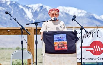 Mo NIshida, who attended the first organized Manzanar Pilgrimage in 1969, addresses the crowd during the 50th Annual Manzanar Pilgrimage, April 27, 2019, at the Manzanar National Historic Site.