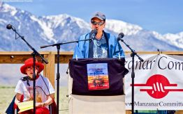 Manzanar Committee Co-Chairs Bruce Embrey addresses the crowd during the 50th Annual Manzanar Pilgrimage, April 27, 2019, at the Manzanar National Historic Site.