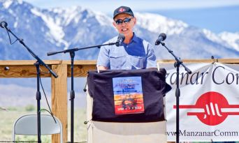 Attorney Dale Minami, Minami and Lew, L.L.P., addresses the crowd during the 50th Annual Manzanar Pilgrimage, April 27, 2019, at the Manzanar National Historic Site.