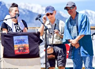 Activist Jim Matsuoka (center), shown here with traci kato-kiriyama (left) and Manzanar Committee Co-Chair Bruce Embrey (right) during the 50th Annual Manzanar Pilgrimage, April 27, 2019, at the Manzanar National Historic Site.