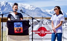 UCSD Nikkei Student Union co-President Lauren Matsumoto (right), shown here as co-emcee traci kato-kiriyama introduces her during the 50th Annual Manzanar Pilgrimage, April 27, 2019, at the Manzanar National Historic Site.