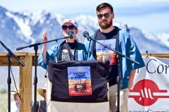 Monica Embrey (left) and Michael Embrey (right), during the traditional Roll Call of the Camps. 50th Annual Manzanar Pilgrimage, April 27, 2019, at the Manzanar National Historic Site.
