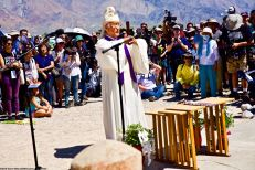 Rev. Alfred Tsuyuki performs the Shinto purification rite during the interfaith service. 50th Annual Manzanar Pilgrimage, April 27, 2019, at the Manzanar National Historic Site.