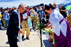 Rev. Dickson K. Yagi (left) participates in the Shinto purification rite during the interfaith service. 50th Annual Manzanar Pilgrimage, April 27, 2019, at the Manzanar National Historic Site.
