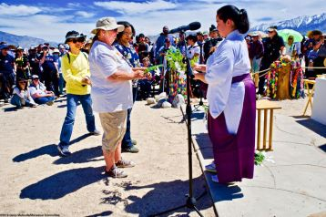 The Shinto purification rite during the interfaith service. 50th Annual Manzanar Pilgrimage, April 27, 2019, at the Manzanar National Historic Site.