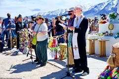 Rev. Dickson K. Yagi (right) eads the Christian portion of the interfaith service. 50th Annual Manzanar Pilgrimage, April 27, 2019, at the Manzanar National Historic Site.