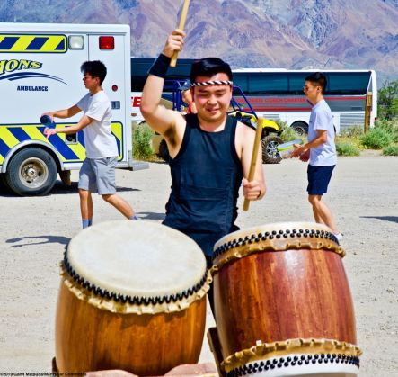 UCLA Kyodo Taiko provided the taiko drumming during the traditional ondo dancing at the conclusion of the 50th Annual Manzanar Pilgrimage, April 27, 2019, at the Manzanar National Historic Site.