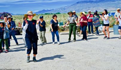Traditional ondo dancing at the conclusion of the 50th Annual Manzanar Pilgrimage, April 27, 2019, at the Manzanar National Historic Site.