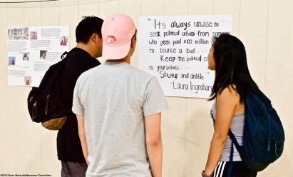Relevant quotes were posted on the walls of the gym during the 2019 Manzanar At Dusk program.