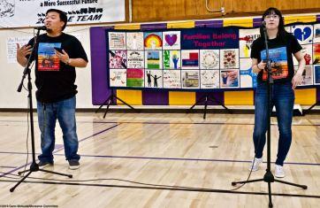 Manzanar Committee members Jason Fujii (left) and Wendi Yamashita (right) during the opening of the 2019 Manzanar At Dusk program, Aoril 27, 2019, at Lone Pine High School.
