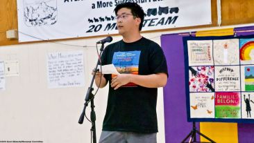 Justin Fuji served as one of the emcees of the 2019 Manzanar At Dusk program, Aoril 27, 2019, at Lone Pine High School.