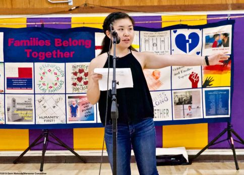Megan Yabumoto served as one of the emcees of the 2019 Manzanar At Dusk program, Aoril 27, 2019, at Lone Pine High School.