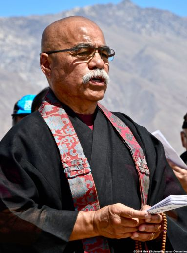 The interfaith service during the 50th Annual Manzanar Pilgrimage. Rev. William Briones of Nishi Hongwanji Buddhist Temple is shown here.