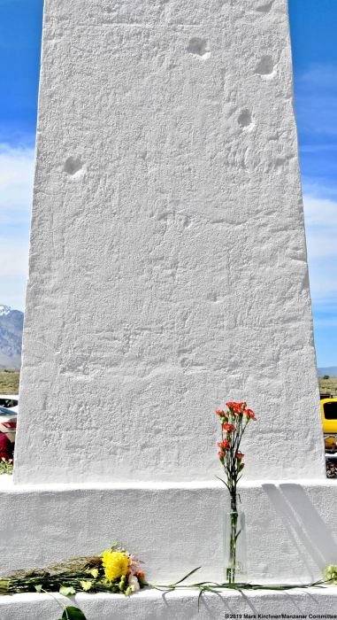 An offering at the Manzanar cemetery monument.