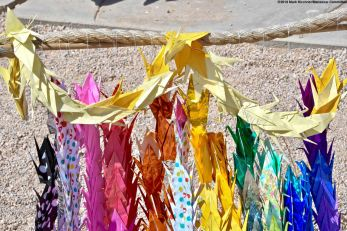 Origami cranes at the Manzanar cemetery monument