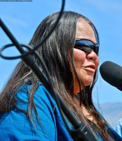 Kathy Jefferson Bancroft, Tribal Historic Preservation Officer, Lone Pine Paiute-Shoshone Reservation, addressed the crowd during the 50th Annual Manzanar Pilgrimage.